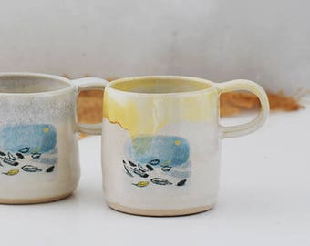 Ceramic mug with fairy tale scene - The Wild Swans by Hans Christian Andersen - handmade illustrated pottery