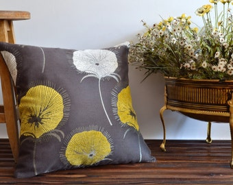 Large floral pillow cover - 20x20 cushion cover - White and mustard flowers on brown botanical pillow