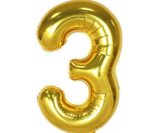 """40"""" Gold Number """"Three 3"""" Balloon, Birthday Party and etc ... 1,2,3,4,5,6,7,8,9,0"""
