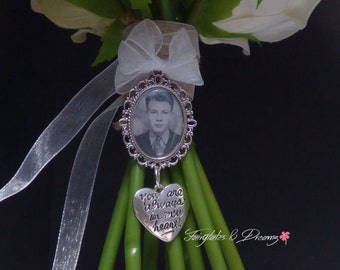 Your Always In My Heart Charm , Bridal Bouquet Photo Charm personalised with your own photo, Memorial Photo Charm, 25x18 Photo