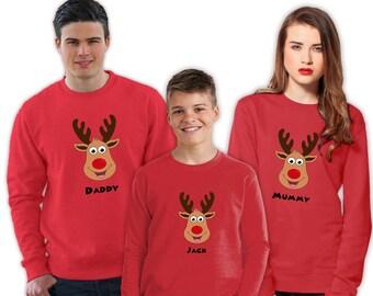10% Off Christmas Jumpers | Reindeer Family Christmas Sweatshirt | Women's/Men's/Unisex/Kid's Jumper | White, Green, Red or Blue