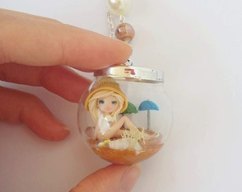 Mermaid in the glass globe necklace, fantasy, polymer clay