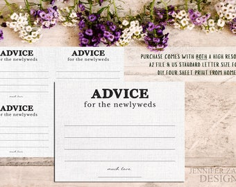Advice Card Template. Advice for the Newlyweds. Marriage Advice. Marriage Advice Card. Rustic Advice Cards. Advice for the Couple. PDF File.