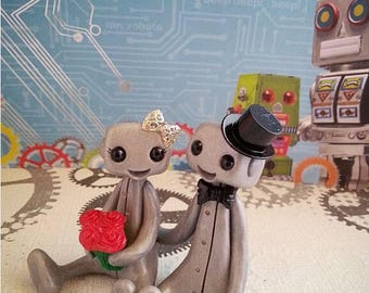 Nothing But Smiles Robot Cake Topper (Pick your bouquet color)