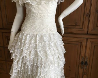 Loris Azzaro  1970's Off the Shoulder Lace Wedding Dress