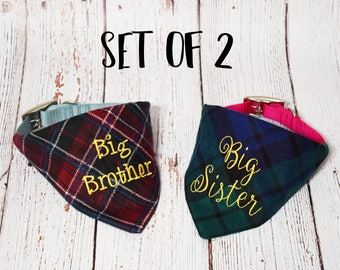Pregnancy Announcement - Baby Announcement- Plaid Dog Bandana- Baby Reveal- Plaid Big Brother Bandana -Future Big Brother -Future Big Sister