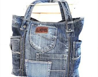 LEE Recycled jeans bag, denim bag, jeans tote, denim tote, shoulder bag, large bag, blue handbag, beach bag,shopper, casual bag