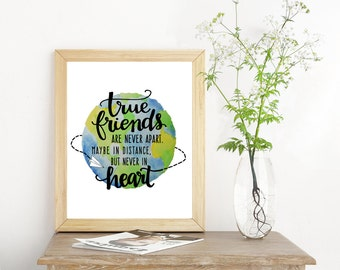 Long Distance Friend Gift Moving Away Gift Friendship Quotes Prints - Going Away Gift for Friend Globe Art Moving Gift Friend Quotes Artwork