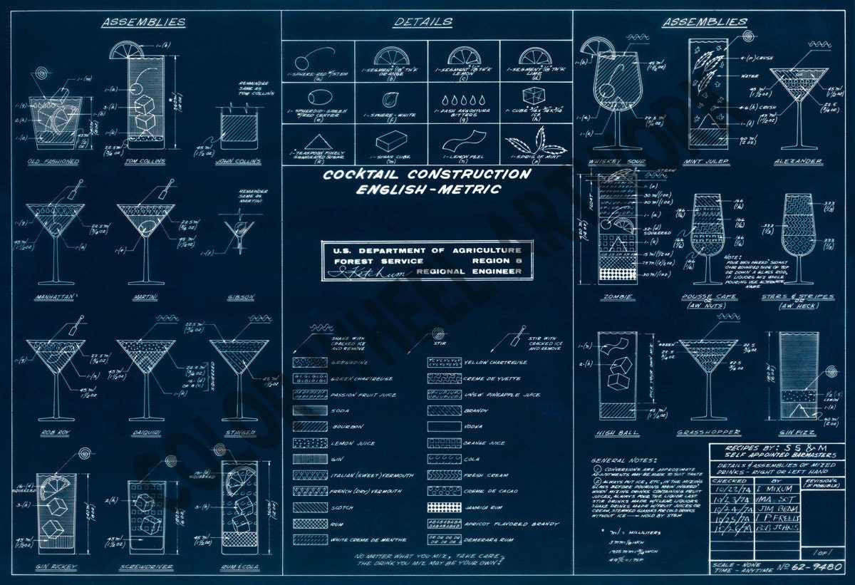 Mixed drinks blueprint 23x34 cocktail zoom malvernweather Choice Image