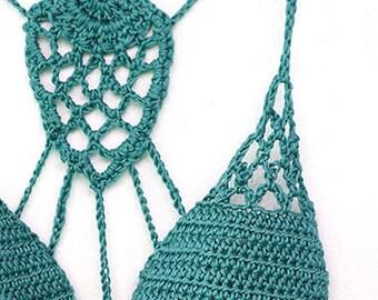 Crochet Bikini Top, Lace crochet bikini bra, Yoga crochet top, Halter top, Boho bikini top in mos green