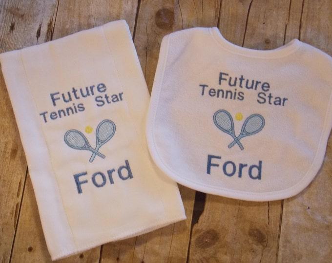 Tennis baby bib and burp cloth set - Future Tennis Star - Personalized bib - monogram burp cloth - embroider baby set - personalized baby