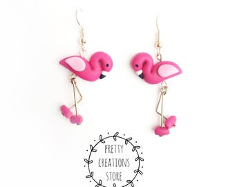 Pink Flamingo Earrings, Tropical Flamingo Jewelry, Bird Flamingo Button Earrings, Handmade Polymer Clay Jewellery, flamingo Earrings