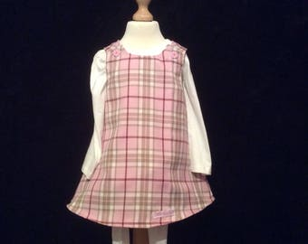 Pretty  pink  tartan and pink flowers  pinafore