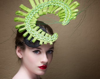 Haute Couture Hat -  Headpiece -  Fascinator -  Horse race -  Deep Sea
