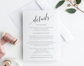 Wedding Details Card Template, Wedding Detail Card Printable, Wedding Details Insert, Wedding Information Card, Wedding Info Card Template