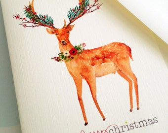 Christmas Cards, Holiday Cards, Reindeer Cards, Set of 10