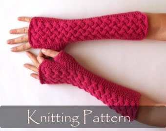 KNITTING PATTERN - Cable Fingerless Gloves Knit Pattern Arm Warmers Pattern Women Fingerless Mittens Pattern Knit Gloves Pattern PDF - P0007