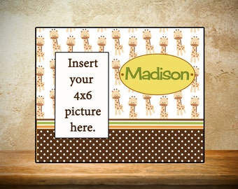 Personalized Baby Frame/Birth Frame - Giraffe