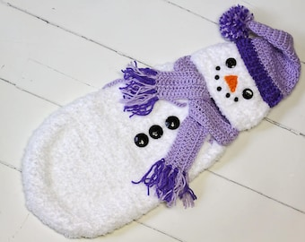 Newborn Lavender Snowman Cocoon, Hat and Scarf, Crochet Snowman Cocoon, Snowman Photo Prop, Christmas Card Photo Prop, Baby Shower Gift