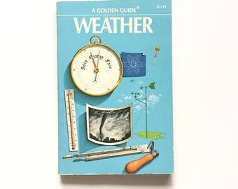 Vintage Golden Guide- Weather / Golden Nature Guide / Book on Weather / Book on Clouds / Meteorology / Homeschool Book