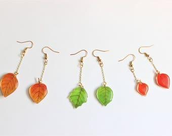 Leaf Earrings, Fall Earrings, Glitter Earrings, Clip On Earrings, Pierced Earrings, dangle Earrings, Boho, Nickel Free, 18k Gold Plated