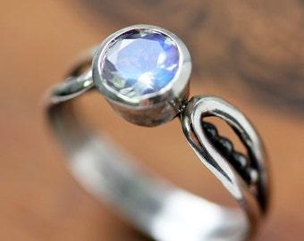Rainbow moonstone ring, aaa moonstone, blue moonstone bezel set ring, beaded bridge ring, unique ring, dot ring, recycled silver ring custom