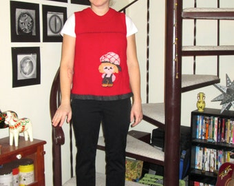 Vintage red sweatervest with knit graphic - small/medium