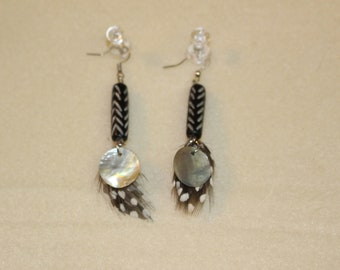 Abalonie chip feather Native Inspired dangles