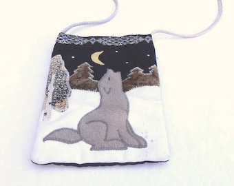 Howling wolf mini-bag // wolf purse // small cross-body bag // cross-body pouch // hand-made pouch // Russian wolf pouch