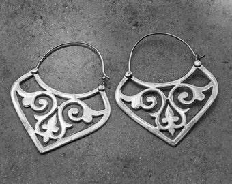 Sterling Silver Earrings, Silver Hoop Earrings, Boho Earrings, Gypsy Earrings, Belly Dance, Tribal Jewelry, Womens Gift, Valentines Day Gift