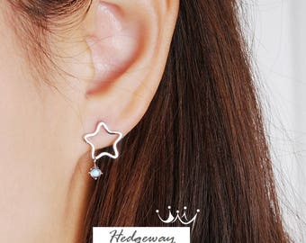 Star Moonstone Earrings, Moonstone Stud Earrings, Star Earrings, Sterling Silver Earrings, Moonstone Snowflake Studs, June Birthstone Studs