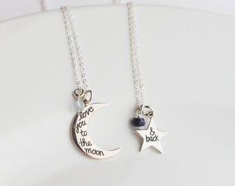 Mother Daughter Christmas Gift from Daughter Mother Daughter Necklace Birthstone Mom and Daughter Jewelry Personalized To the Moon and Back