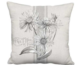 20x20 Inch - READY TO SHIP - Gray Americana Country Farmhouse Grain Sack Style Daisies Pillow Cover - Neutral Grey Flower Cushion Cover