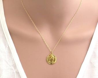 24k deep gold plated Coin pendant, gold coin necklace, dainty coin necklace, boho necklace , disc necklace , roman coin , vintage coin