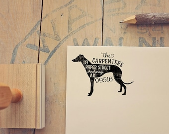 Greyhound Return Address Stamp, Housewarming & Dog Lover Gift, Personalized Rubber Stamp, Wood Handle, Whippet Stamp