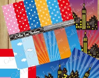 "Superhero clipart , Superhero digital paper pack (S012) comic book style super hero clip art ,Superhero Comic book background 12""x12"""