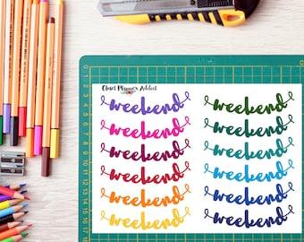 Rainbow Weekend Brush Script Planner Stickers   Weekend Stickers (FP-002)