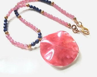 Pink & Blue Necklace, Large Gemstone Pendant, Cherry Quartz  Stone, Dark Blue Beads, Copper, Gift for Women, Beaded Strand N291