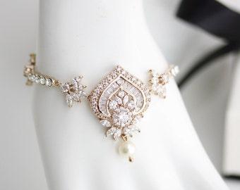 Wedding Bracelet Rose Gold Wedding Jewelry Crystal Bridal Bracelet EVIE Bracelet