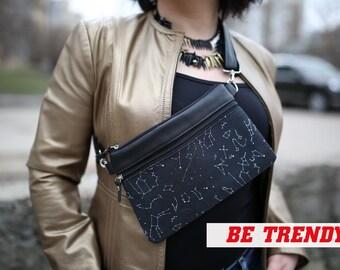 Black Fanny Pack Waist Bag for Women Zodiac Gift Vegan Leather Belt bag Astrology Festival fanny bag Crossbody bags