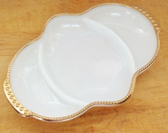 Vintage Fire King Divided Relish Dish. Whole milk glass with gold trim.