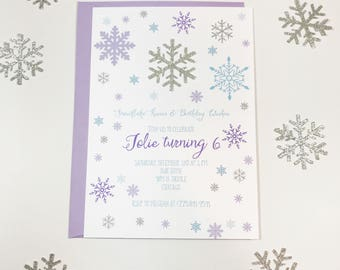 Winter Birthday invitation | Snowflake invitation | Winter wonderland party | Glitter Snow princess invite | Onederland first birthday