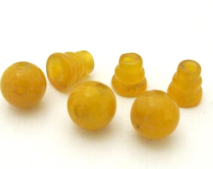 1 Guru Bead set - 3 hole Yellow onyx gemstone Guru column Bead set 10 mm size - GB030