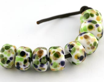 Garden Drops Handmade Glass Lampwork Beads (8 Count) by Pink Beach Studios (1460)