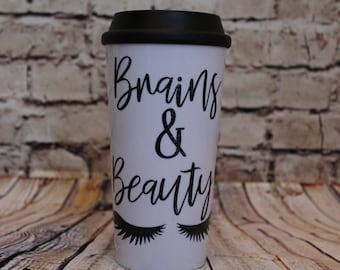 Brains & Beauty coffee tumbler