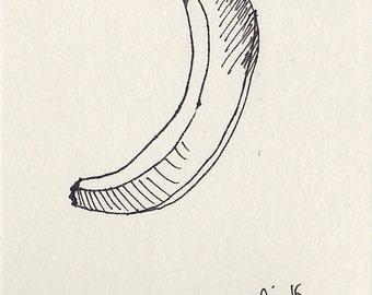 Banana Original Ink Sketch, Still Life Art, Contemporary Original Fine Art, Fruit Study