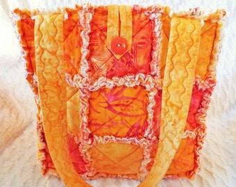 On Sale Orange Batik Rag Tote - Rag Quilt Tote - Batik Tote - Orange and Yellow Tote - Orange Rag Tote - Gift for Her