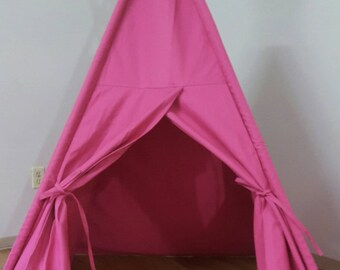 Pink canvas teepee, kids tipi, kids play tent