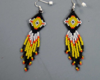 Beaded Earrings, Brick Stitched Earrings, Native American Earrings, Bead Work, Festive Yellow Earrings, Drop Earrings, Southwest Style
