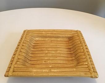 Vintage Ceramic Bamboo Tray, Ceramic Ashtray, Made in Florida, Candy Dish, Serving Tray, Retro Tiki Bar Decor, Mid Century Tiki Barware